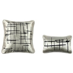 Pair Black Criss Cross Off-White Silk Wool Throw Pillows