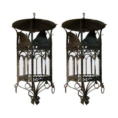 Extra Large Black Iron Hexagonal Shaped Pair of Lanterns, France, 1940s