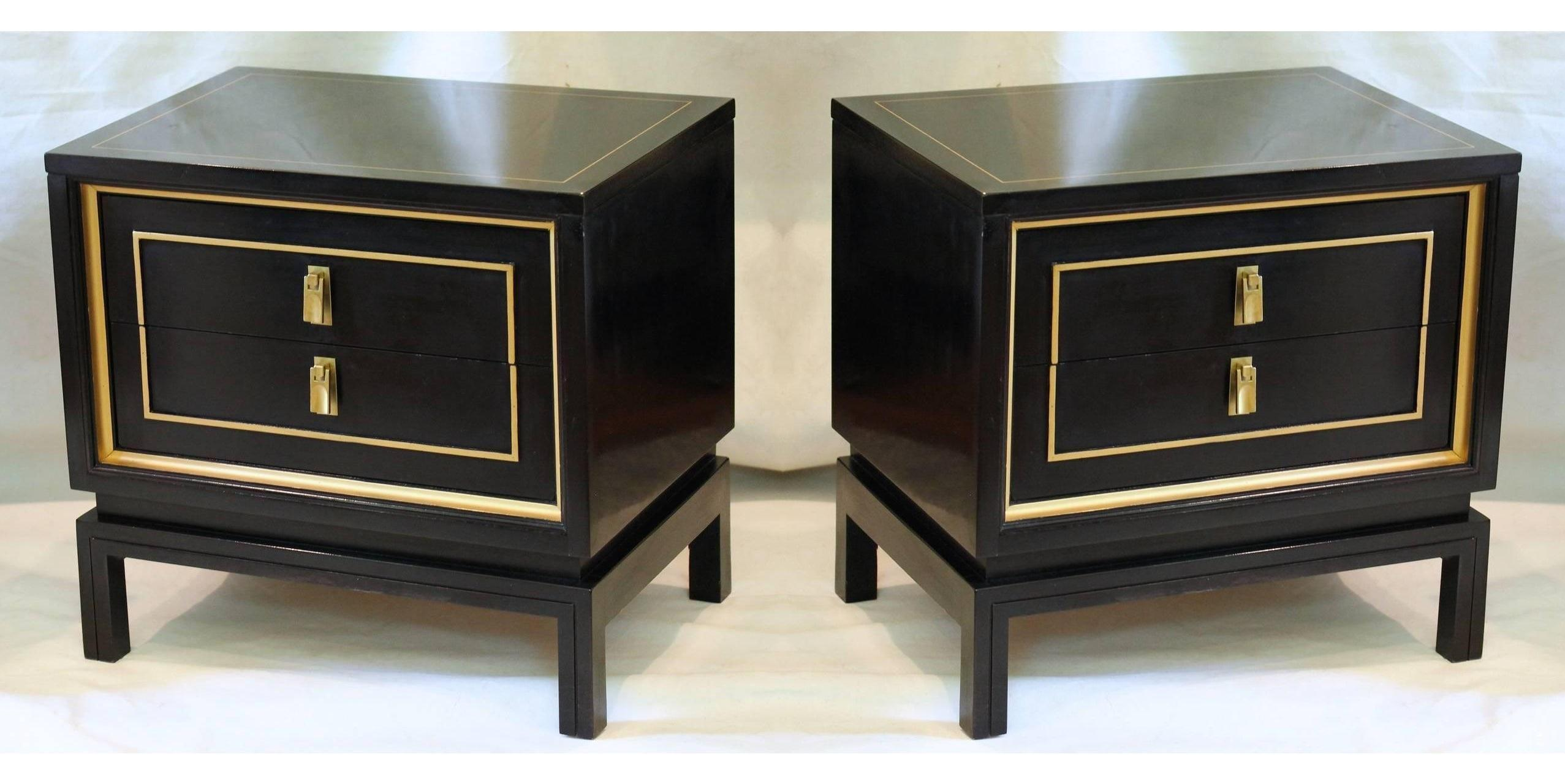 Pair Of Black Lacquered And Gold Nightstands Or End Tables At 1stdibs