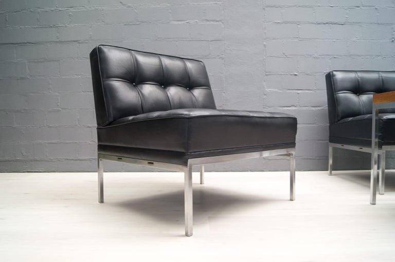 Pair of Black Leather Constanze Armchairs by Johannes Spalt for Wittmann, 1960s 2