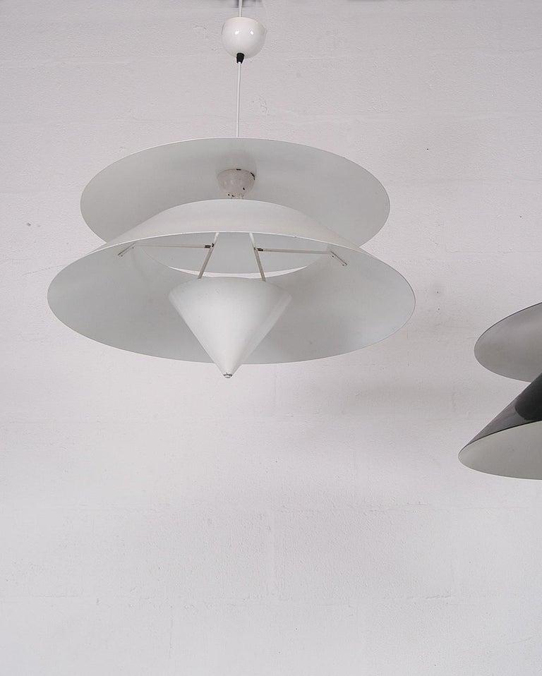 Pair of Black White Italian 'Kalaari' Ceiling Pendants Vico Magistretti Oluce For Sale 6