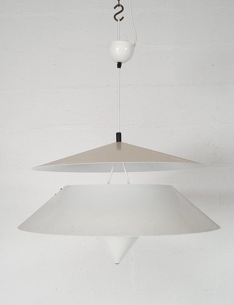 Pair of Black White Italian 'Kalaari' Ceiling Pendants Vico Magistretti Oluce For Sale 7