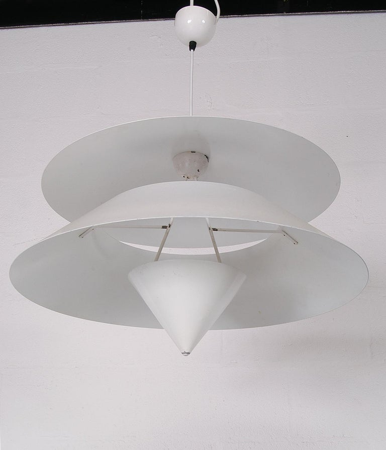 Pair of Black White Italian 'Kalaari' Ceiling Pendants Vico Magistretti Oluce For Sale 8