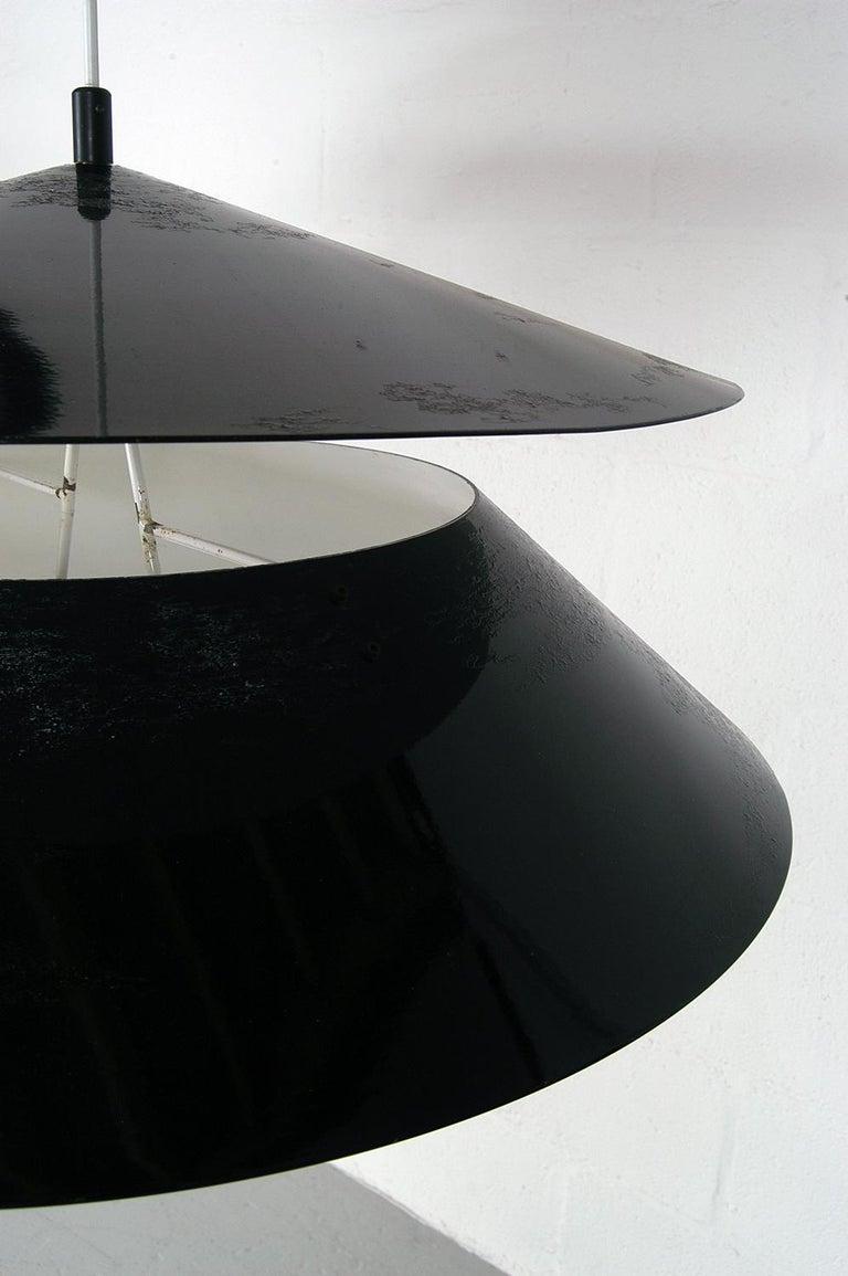 Pair of Black White Italian 'Kalaari' Ceiling Pendants Vico Magistretti Oluce For Sale 13