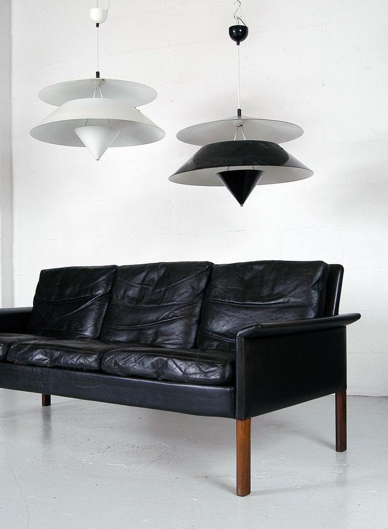 Pair of Black White Italian 'Kalaari' Ceiling Pendants Vico Magistretti Oluce In Good Condition For Sale In Sherborne, Dorset