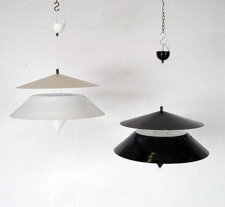 Aluminum Pair of Black White Italian 'Kalaari' Ceiling Pendants Vico Magistretti Oluce For Sale