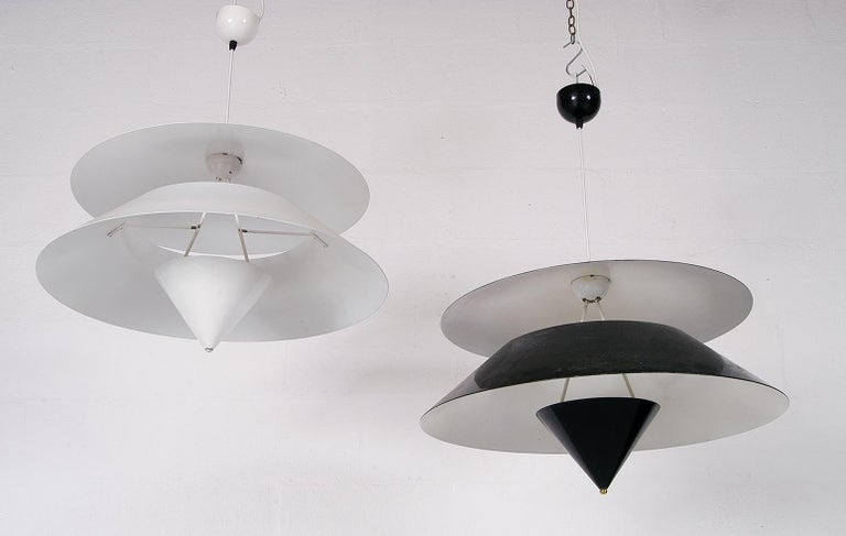 Pair of Black White Italian 'Kalaari' Ceiling Pendants Vico Magistretti Oluce For Sale 1