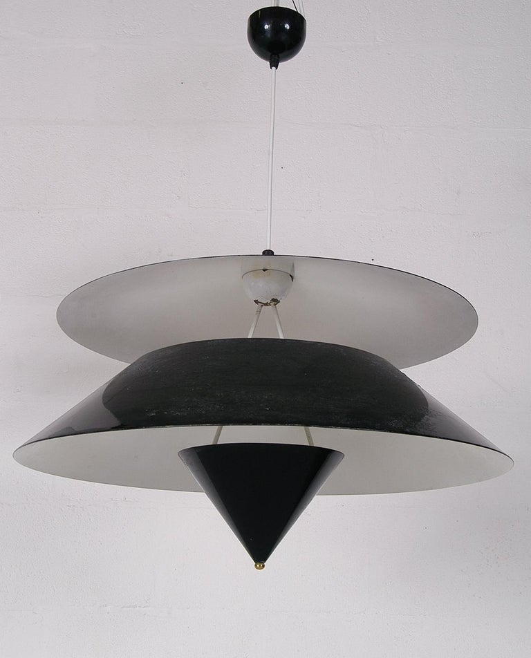 Pair of Black White Italian 'Kalaari' Ceiling Pendants Vico Magistretti Oluce For Sale 2
