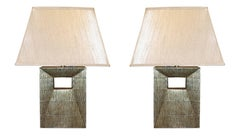 Pair Black/Gold Cut Out Base Lamps, Italy, Contemporary