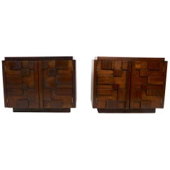 Pair of Block Front Brutalist Nightstands by Lane