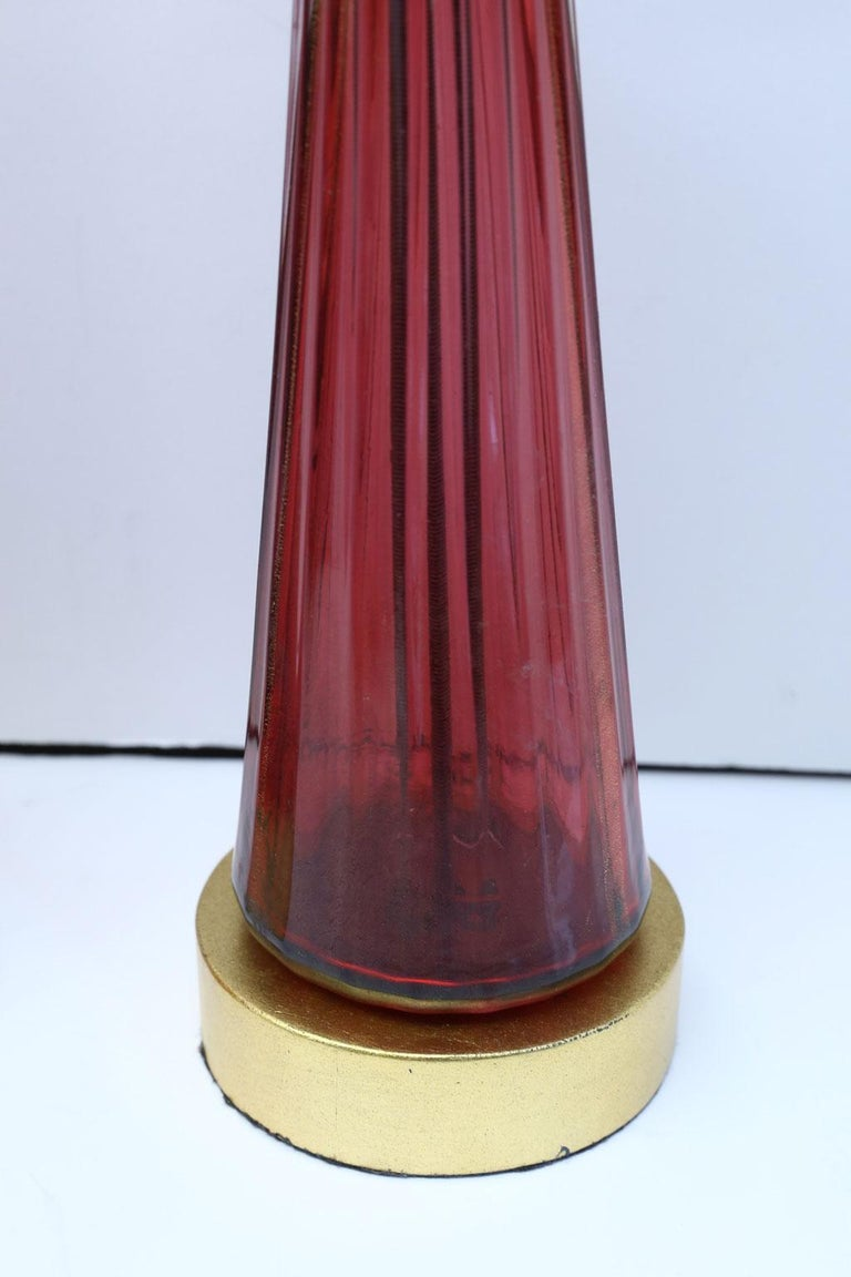 Italian Pair of Blown Glass Murano Table Lamps For Sale