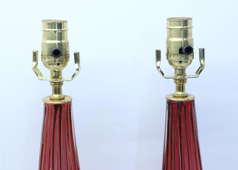 Pair of Blown Glass Murano Table Lamps In Excellent Condition For Sale In Houston, TX