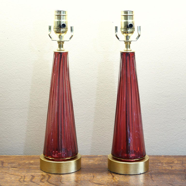 Mid-20th Century Pair of Blown Glass Murano Table Lamps For Sale