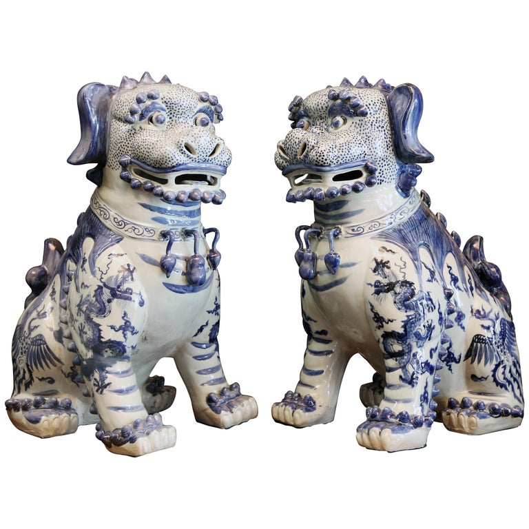 Pair Blue and White Chinese Foo Dogs Hand-Painted, Private Chinese Collection For Sale