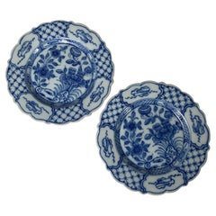 Pair Blue and White Delft Dishes Hand-Painted, Circa 1780