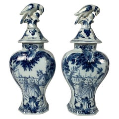 Pair Blue and White Delft Mantle Vases Hand-Painted, Netherlands, Circa 1770