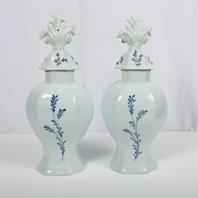 Rococo Pair of Blue and White Dutch Delft Mantle Jars Made, Netherlands, circa 1820 For Sale