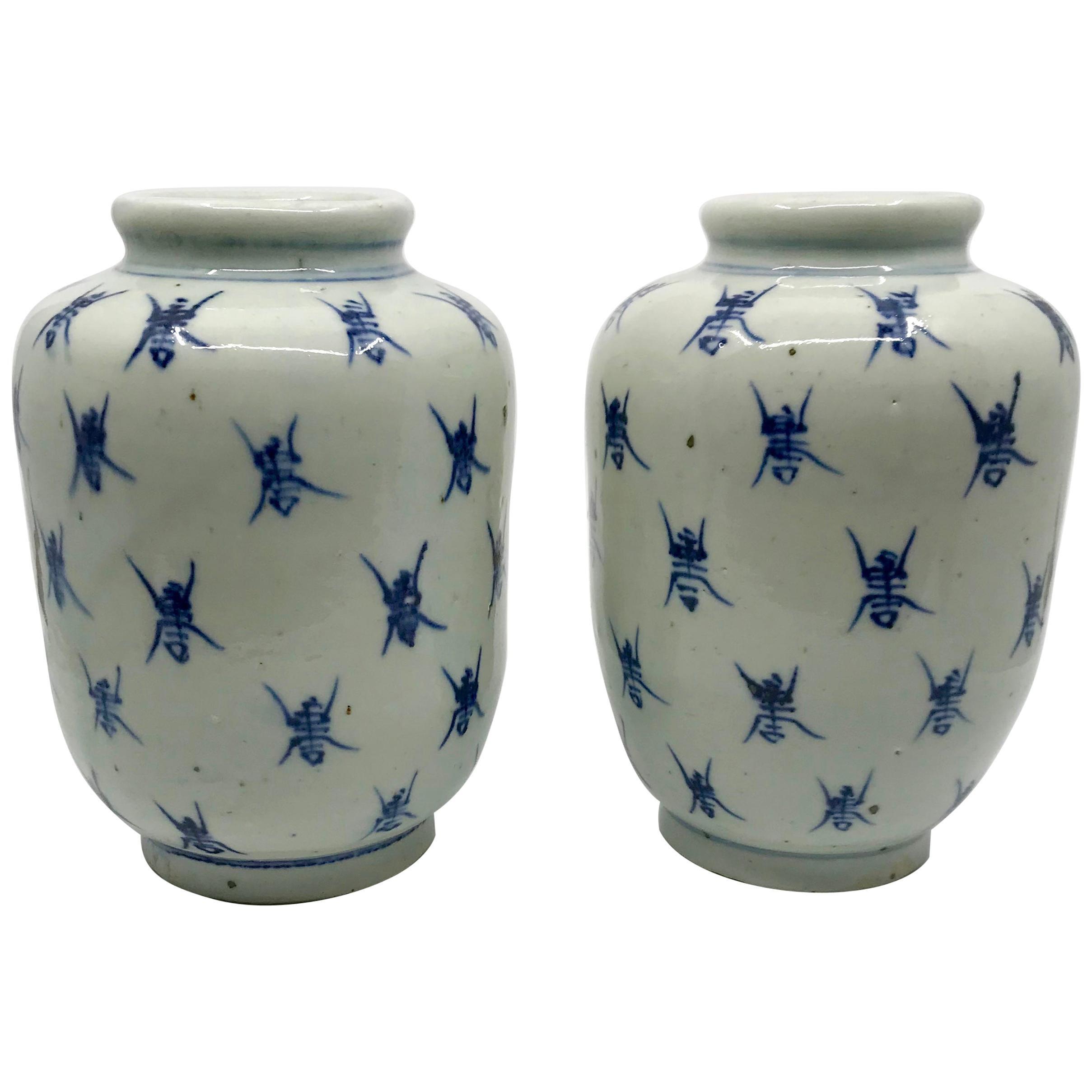 Pair of Blue and White Ginger Jar Vases