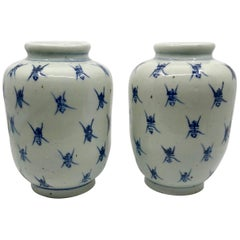 Pair of Blue and White Ginger Jar Vases
