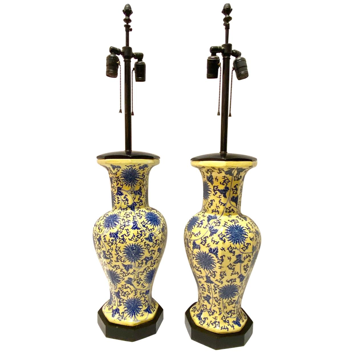 Pair of Blue and Yellow Chinoiserie Table Lamps