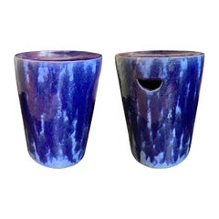 Pair of Blue Ceramic Glazed Garden Stools, China, Contemporary