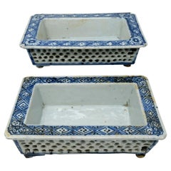 Pair Blue White Chinese Reticulated Porcelain Narcissus Bonsai Planters Qianlong