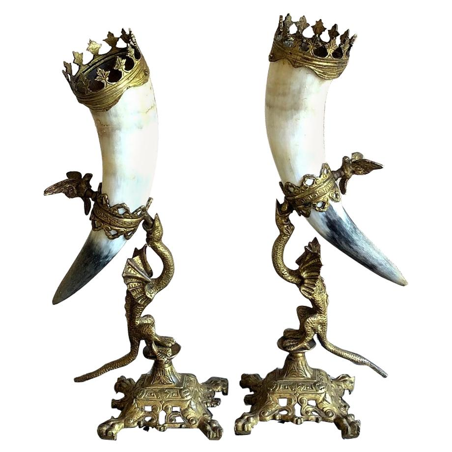 Pair of Bookends, 19th Century Bronze-Mounted Horn