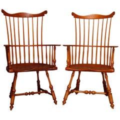 Pair of Boston Americana Handmade Fan-Back Oak Windsor Chairs, 20th Century