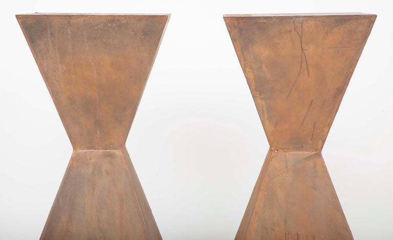 Modern Pair of Brancusi Style Steel Side Tables For Sale