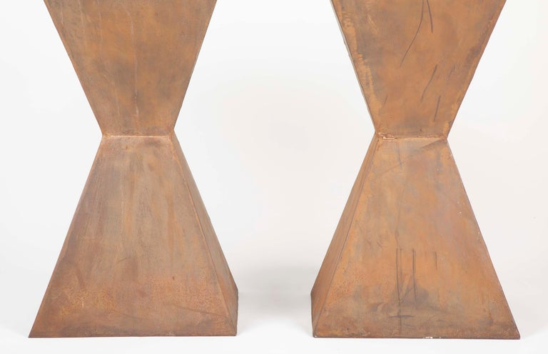 American Pair of Brancusi Style Steel Side Tables For Sale