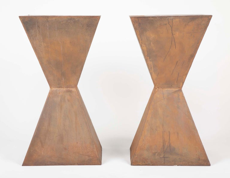 Pair of Brancusi Style Steel Side Tables In Good Condition For Sale In Stamford, CT