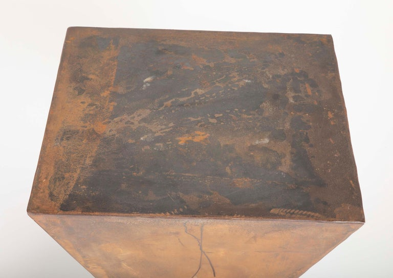 Cut Steel Pair of Brancusi Style Steel Side Tables For Sale