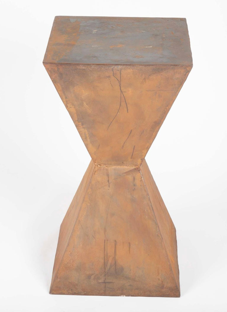 Pair of Brancusi Style Steel Side Tables For Sale 1