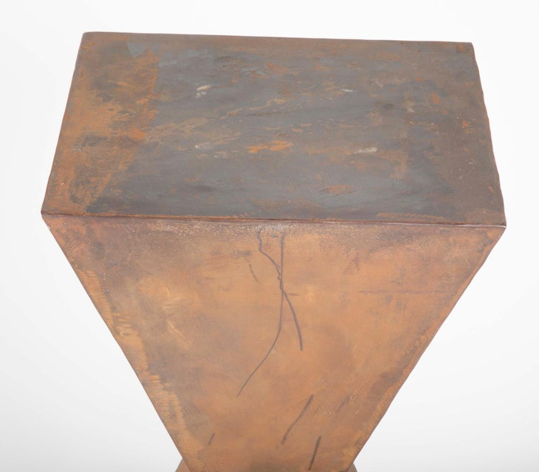 Pair of Brancusi Style Steel Side Tables For Sale 2