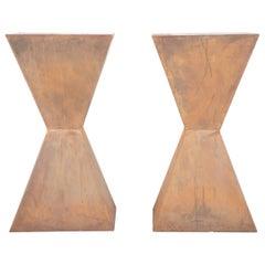 Pair of Brancusi Style Steel Side Tables