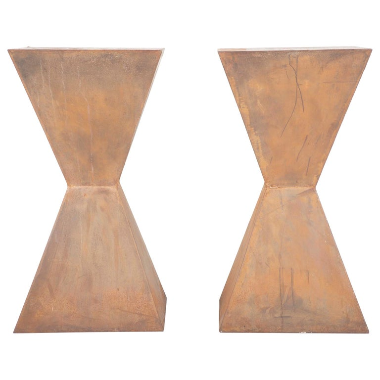 Pair of Brancusi Style Steel Side Tables For Sale