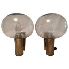 Pair of Brass and Smoked Glass Sconces by Bünte und Remmler, 1960s