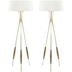 Pair of Brass and Walnut Tripod Floor Lamps by Gerald Thurston, 1960s