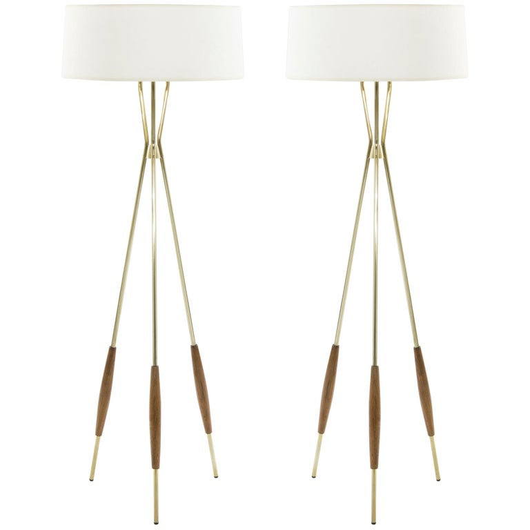 Pair Of Brass And Walnut Tripod Floor Lamps By Gerald Thurston 1960s