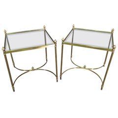 Pair Brass Beveled Glass Maison Jansen Style Square End Tables Hollywood Regency