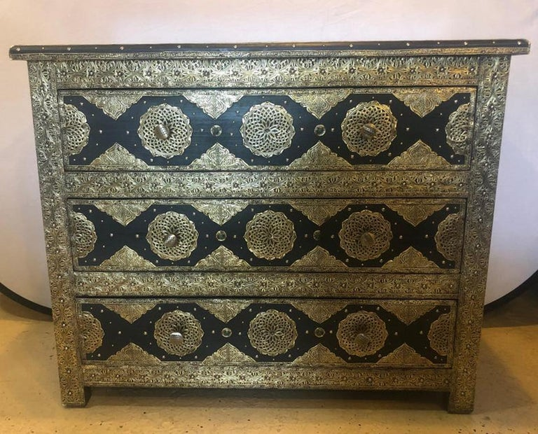 Moroccan Brass & Ebony Palatial Hollywood Regency Style Commodes Chests Nightstands, Pair For Sale