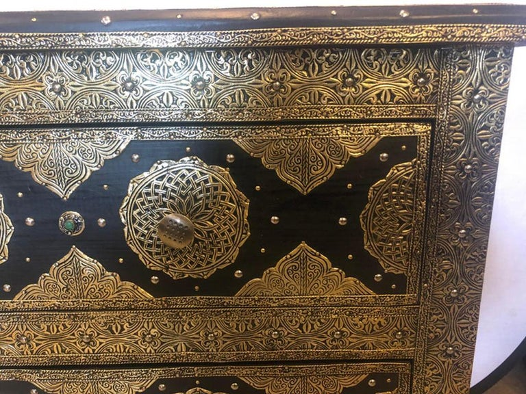 Brass & Ebony Palatial Hollywood Regency Style Commodes Chests Nightstands, Pair 3