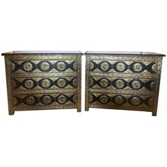 Brass & Ebony Palatial Hollywood Regency Style Commodes Chests Nightstands, Pair