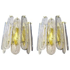 Pair of Brass Framed Midcentury Mazzega Sconces