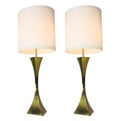 Pair of Brass Gio Ponti Geometric Lamps