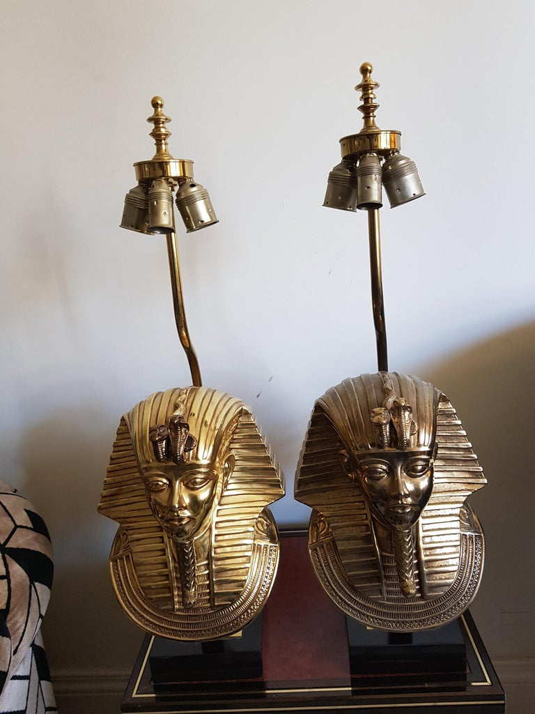 Vintage  Pharaoh Table Lamps, Hollywood Regency For Sale 6