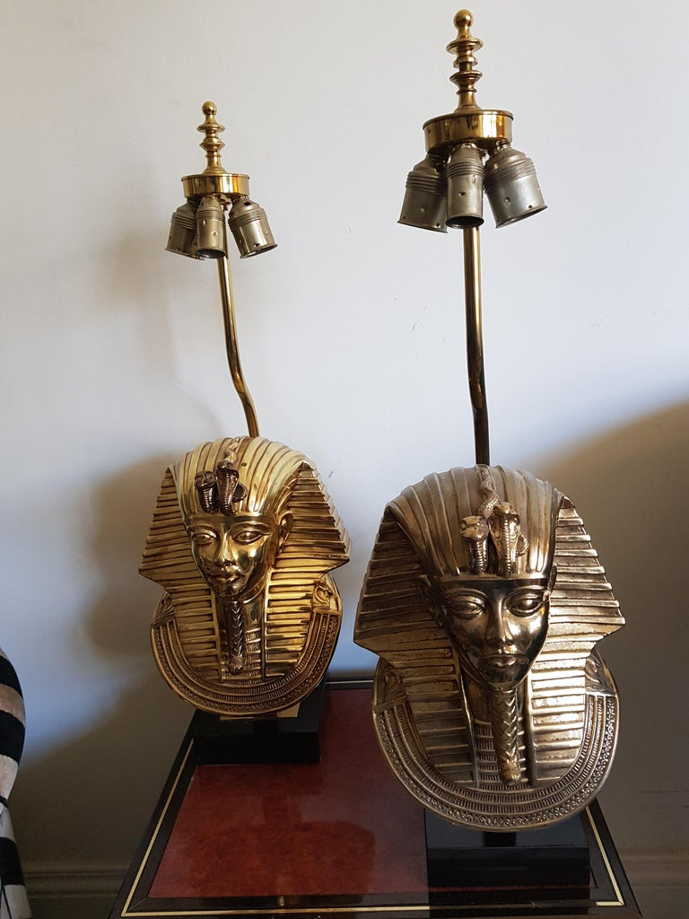 Vintage  Pharaoh Table Lamps, Hollywood Regency For Sale 7