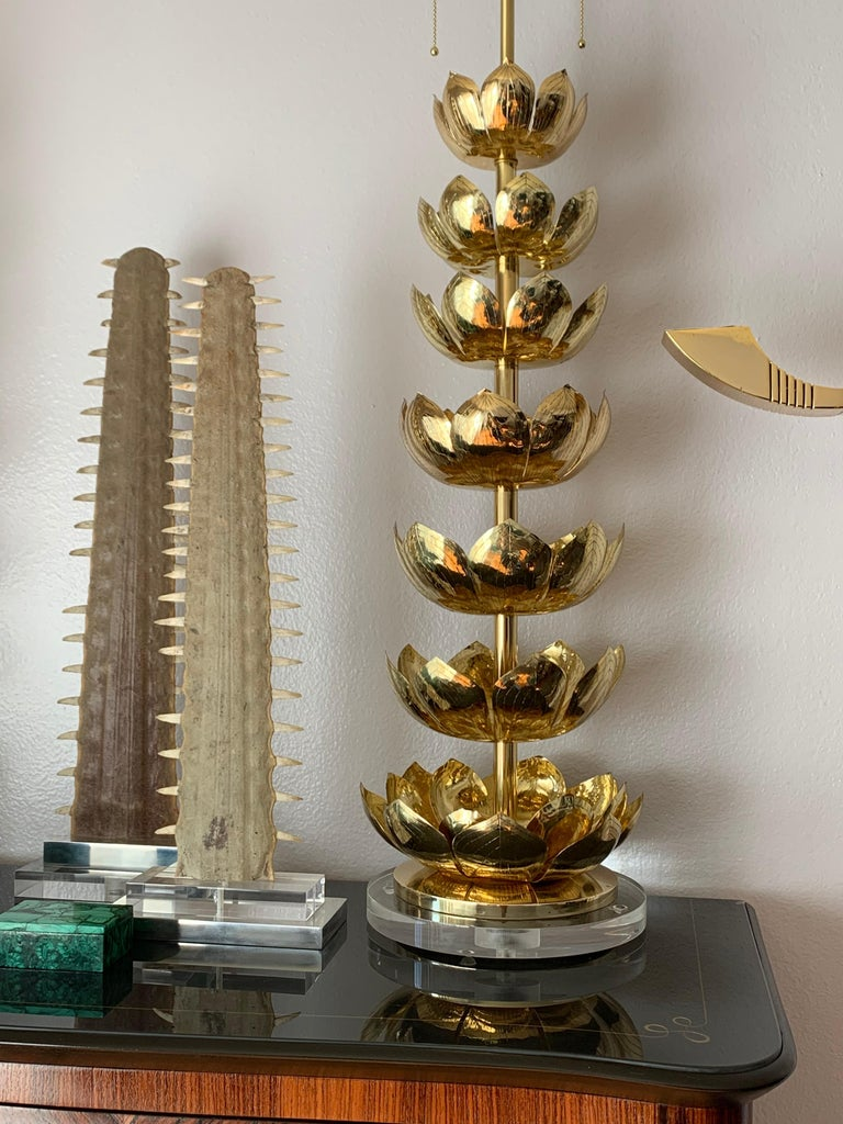 Pair of Brass Lotus Lamps For Sale 4