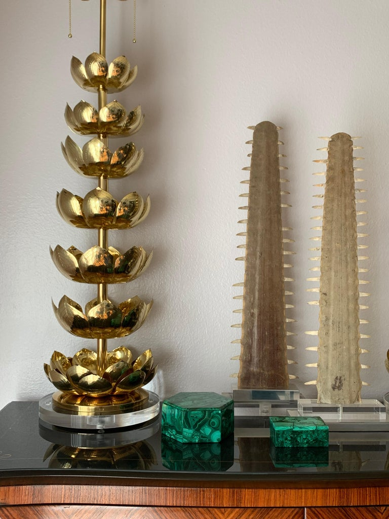 Pair of Brass Lotus Lamps For Sale 5