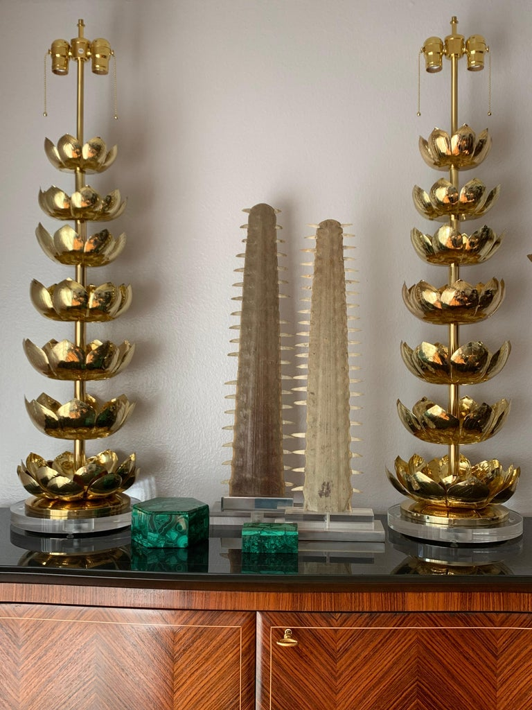Pair of Brass Lotus Lamps For Sale 2